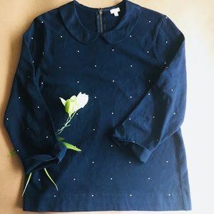 J Crew Blue Pindot Sweater Peter Pan Collar